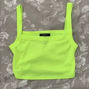Cropped Neon Yellow Tank